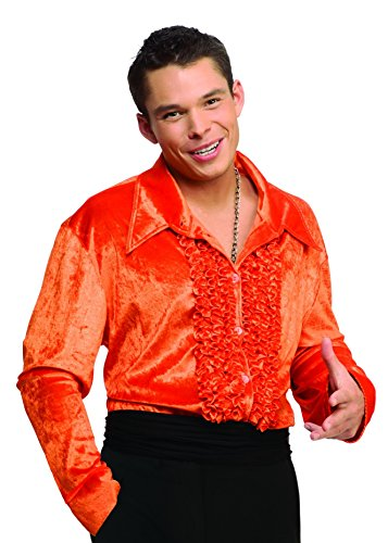 [Men Large (Jacket Equivalent Up to 42) Velvet Disco Shirt in Orange] (70s Costumes Men)