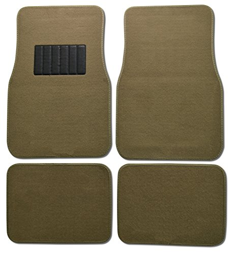 BDK MT-100-CPTSERIES Classic Carpet Floor Mat (for Car and Auto - Universal Fit -Front and Rear with Heelpad) , Medium Beige