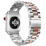 Apple Watch Band, iitee 38mm Stainless Steel iWatch Band Link Bracelet with Adapters for Apple Watch Series 3 Series 2 Series 1 - Silver/Rose Gold