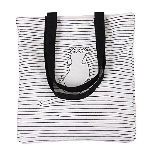 Print Canvas Shopper (Nuni Women's Black Stripe Lazy Cat Canvas Tote Convertible Shoulder Bag White (black handles))