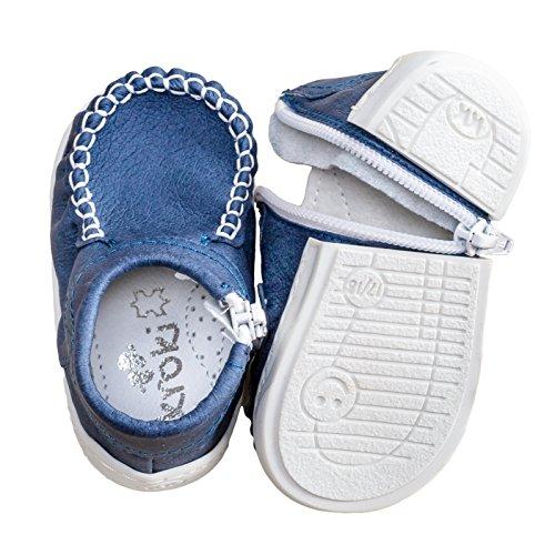 mokki Klassisch Babyschuhe, Lauflernschuhe, Krabbelschuhe, Krippeschuhe, mit innovativem Reißverschluß Blau