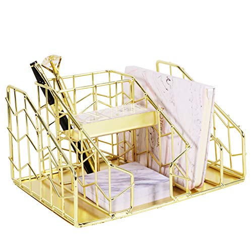 Nugorise Desk Organizer, 6 Compartments - Mail Sorter, Pen Holder, Accessory Slot and Sticky Note Holder, Wire Stationery Storage Caddy for Office Supplies and Accessories, Gold