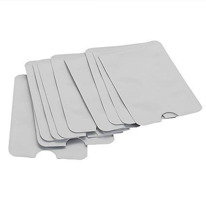 BQLZR N12172 - Fundas para tarjetas de crédito y pasaportes (impermeables, protección RFID contra robos, 10 unidades), plata