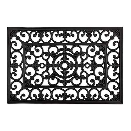 DII 10258 Indoor Outdoor Rubber Easy Clean Entry Way Welcome Doormat, Floor Mat, Rug for Patio, Front, Weather Exterior Doors, 24x36, Wrought Iron Large (Way Clean Wrought Iron Best To)