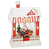 RAZ Imports Santa's Toy Shop Lighted Water House 10 Inch Christmas Snow Globe with Swirling Glitter