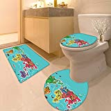 Printsonne Toilet Cushion Suit Kids Maps Decor Collection America Africa Asia Australia Pacific Indian Atlantic Ocean Image in Bathroom Accessories