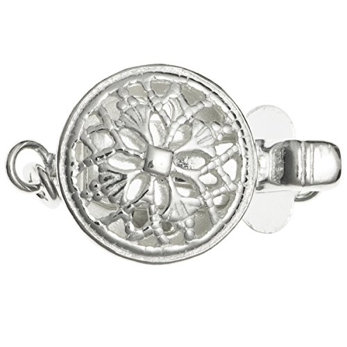 .925 Sterling Silver Classic Flower Filigree Round 1-strand Pearl Box Clasp Connector Switch Bead