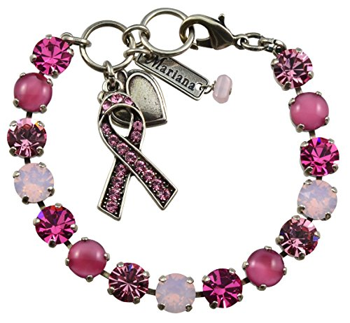 Mariana Breast Cancer Awareness Silver Plated Crystal Tennis Bracelet, 8
