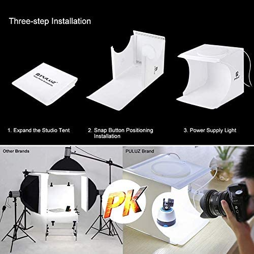 QKa Portable Photo Studio Box Super Bright Photography Light Box Portable Shooting Light Tent with 6 Colors Waterproof Background 20 Centimeter