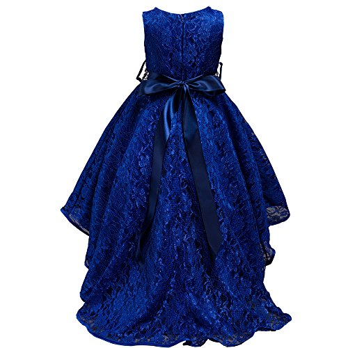 dressfan kids Girls Wedding Party Lace Embroidery Pagent Trailing Dress with Diamond