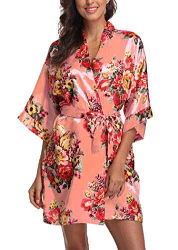 Women's Floral Satin Short Robe Bathrobe Bridesmaid Gift Bridal Party Wedding Favor (Adult Regular (US 2-14), Orange) ()