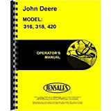 New Operators Manual For John Deere Lawn & Garden Tractor 318