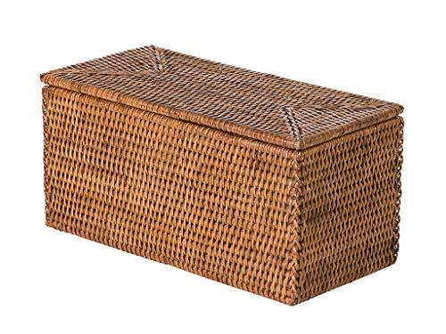 Honey Rattan (Kouboo La Jolla Rectangular Rattan Storage and Toilet Roll Box, Honey-Brown)