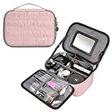 ECOSUSI Travel Makeup Bag Cosmetic Bag Organizer with Removable Mirror and Adjustable Dividers, Pink