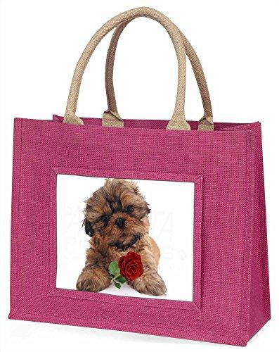 Advanta Shih Tzu Hund mit rot Rose Große Einkaufstasche/Weihnachtsgeschenk, Jute, pink, 42x 34,5x 2cm