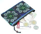 Sabai Jai Coin Purse Handmade Embroidered Bag Ethnic Boho Zipper Change Pouch (Blue)