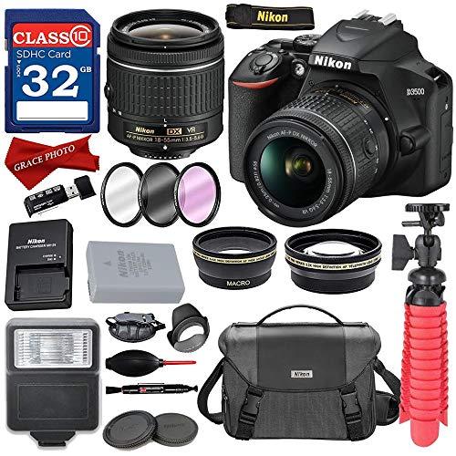 Nikon D3500 DSLR Camera with AF-P DX NIKKOR 18-55mm f/3.5-5.6G VR Lens + Nikon DSLR Camera Case and 32GB Memory Bundle (Nikon 35mm Camera Digital)