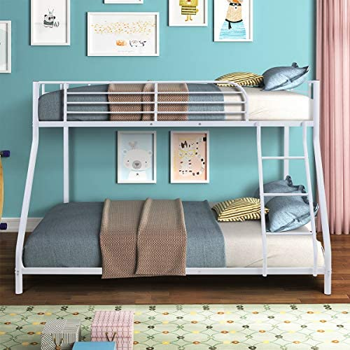 Bunk Bed Twin Over Full Sturdy Steel Metal Bed Frame with Flat Ladder and Guardrail for Children/Teens/Adults (White)