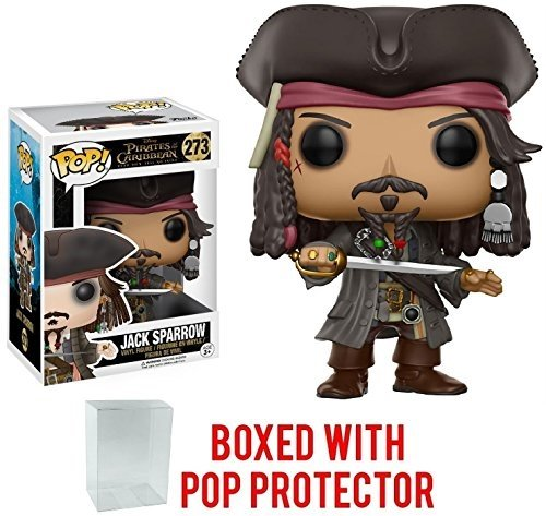 Funko Pop! Disney: Pirates of the Caribbean Dead Men Tell No Tales - Captain Jack Sparrow Vinyl Figure (Bundled with Pop BOX PROTECTOR CASE) ()