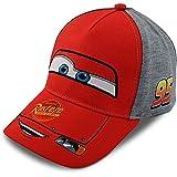 Disney Little Boys Cars Lightning McQueen Character Cotton Baseball Cap, Red/Grey, Age 2-7