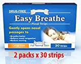 Easy Breathe Natural Nasal Strips - Large Size (60 Strips) ** Drug Free** Reduce Snoring - 2 PACKS OF 30 STRIPS (DOUBLE PACK) ** Relieve Nasal congestion. 100% Drug free. No adverse effect. 100% Satisfaction Guarantee. Solution for sound good night sleep.