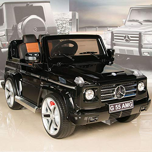 Uenjoy 12V Kids Battery Power W/ Wheels Suspension Ride On Car Electric Motorized Mercedes Benz AMG G55 SUV Luxury Model Featured Shiny Baked Paint, Leather Seat, Eva Wheels, Lights, AUX in&Music