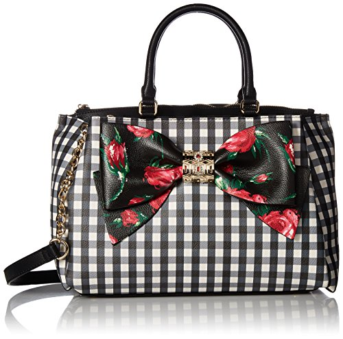 Betsey Johnson Gingham Bow Satchel Crossbody, Black Floral by Betsey Johnson