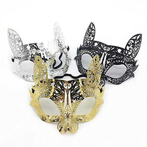 L-YOUXI Women Mask, Venetian Mask for Masquerade/Party/Ball Prom/Mardi Gras/Wedding(Elastic Band) (Color : Black+Gold+Silver, Shape : Cat) ()