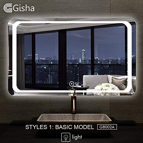 BIG-DEAL_Smart Mirror LED Bathroom Mirror Wall Bathroom Mirror Bathroom Toilet Anti-Fog Mirror with Bluetooth Touch Screen G8002 - ( Color:G8002B-600x800mm )