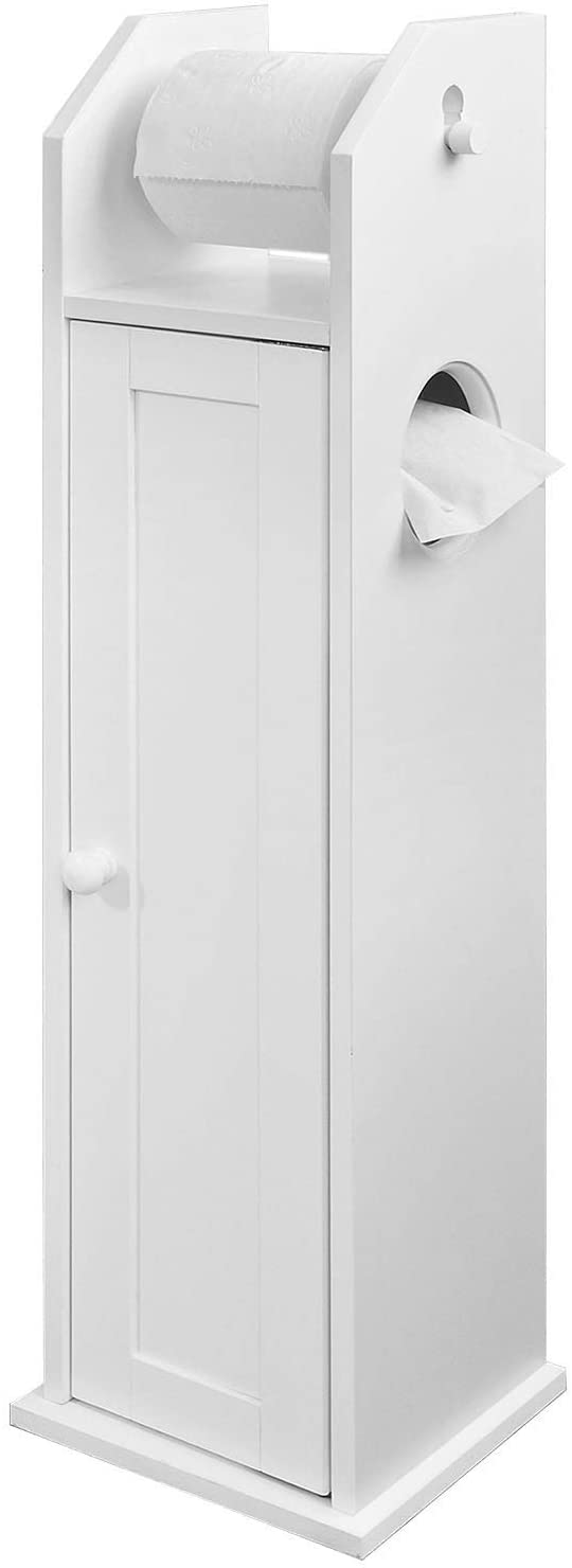 SoBuy® FRG135-W, White Free Standing Wooden Bathroom Toilet Paper Roll Holder Storage Cabinet