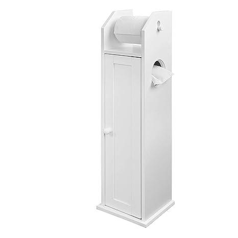 Mobiletto Porta Carta Igienica.Sobuy Frg135 W Mobiletto Porta Rotolo Della Carta Igienica Con Spazio Per Lo Scopino Per Wc In Legno Colore Bianco