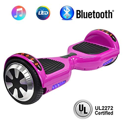 NHT 6.5' Hoverboard Electric Self Balancing Scooter Sidelights - UL2272 Certified Black, Blue, Pink, Red, White (102 Pink)