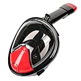 Eleoption Full Face Snorkel Mask 180° View Scuba Snorkeling Diving Anti- Fog Technology Free Breathing Design Fit for Kids and Adults (M/L-For Adult, Black&Red)