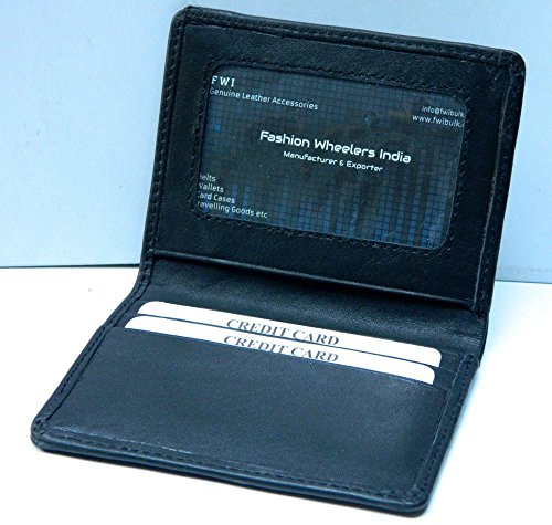 Real Leather Credit Card Case Photo ID black Slim Mini Wallet For Men Women