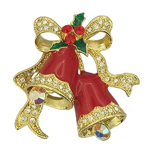 Bright Red Season Greetings Christmas bells with poinsettia handcasted with Swarovski Crystal Handpainted Holiday NEW Gift Brooch pin P5381