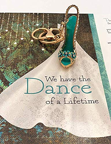 Smiling Wisdom - Dance of a Lifetime Love Letter Greeting Card - Anniversary, Valentine's Day, Anytime Appreciation Gift for Wife, Girlfriend - Dance Shoe Key Chain - Silver Aqua Blue (Car Wont Let Me Take Key Out)