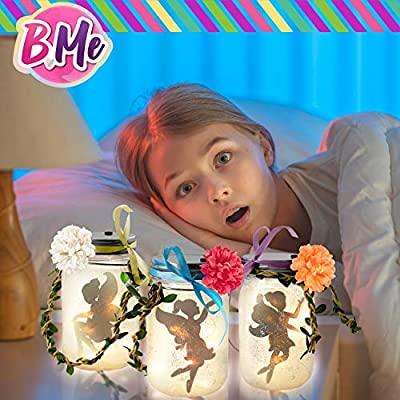 Make Your Own Fairy Jar Night Light Lantern Craft Kit - 3 DIY Fairy Lamp Set for Girls Art Crafts - Warm Night Light for Girls' Room, Kids Fairy Birthday Party, Yard, Porch And Garden Décor - Ages 6+: Toys & Games