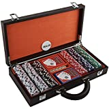 Poker Set With Bounded Leather Case Includes 300 Chips And 2 Decks of Cards And Dices