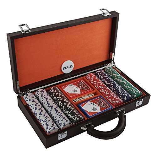 Travel Roulette Set - Poker Set With Bounded Leather Case Includes 300 Chips And 2 Decks of Cards And Dices