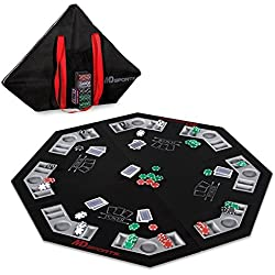 MD Sports Poker Table Top: 46 Inch 8 Player Las Vegas Casino Style Black Felt Gaming Tops for Texas Holdem Games - Large Foldable Game Room Tables (No Assembly Required)
