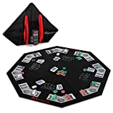 MD Sports Poker Table Top: 46 Inch 8 Player Las Vegas Casino Style Black Felt Gaming Tops for Texas Holdem Games - Large Foldable Game Room Tables