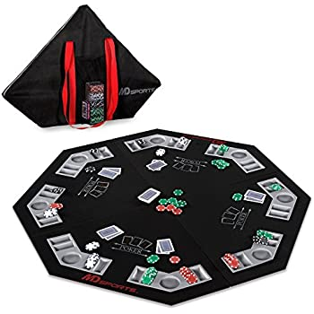 Delicieux MD Sports Poker Table Top: 46 Inch 8 Player Las Vegas Casino Style Black  Felt Gaming Tops For Texas Holdem Games   Large Foldable Game Room Tables  (No ...