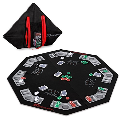 MD Sports Poker Table Top: 46 Inch 8 Player Las Vegas Casino Style Black Felt Gaming Tops for Texas Holdem Games - Large Foldable Game Room Tables by MD Sports