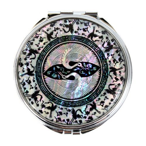 Mother Of Pearl Crane Design Double Compact Magnifying Purse Mirror By Antique Alive