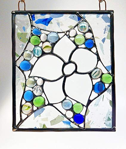 - Beveled glass flower set in a Bed of Colorful Blue and Green Glass Jewels and Fractured Glass