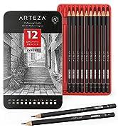Arteza Crayon à papier pour dessin profesionnel, Crayon 6B 5B 4B 3B 2B B HB F H 2H 3H 4H, Lot de ...