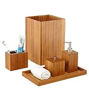 Seville classics 5 piece bamboo bath and for Bathroom essentials set