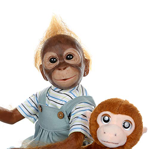Pinky New 21INCH 52CM Handmade Detailed Paint Reborn Baby Monkey Newborn Doll Collectible Art Doll Toy for Kid Gift (Blue)