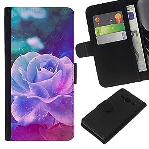 Stuss Case / Funda Carcasa PU de Cuero - Violet Rose Vintage Vignette Flor - Samsung Galaxy A3