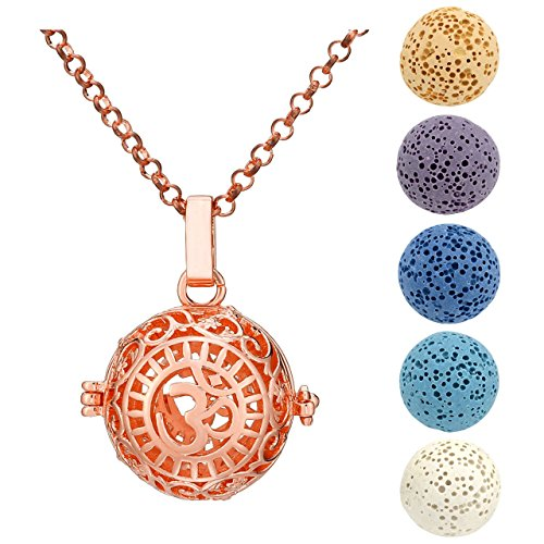 Dyed Beads (Top Plaza Natural Lava Stone Aromatherapy Essential Oil Diffuser Necklace OM Symbol Round Locket Pendant With 5 Dyed Lava Beads(Rose Gold))